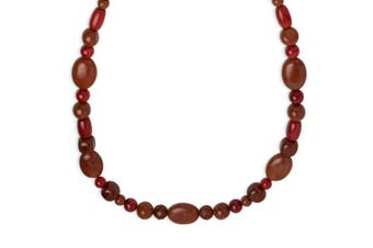 Carolyn Pollack Sterling Silver Red Coral, Japer and Carnelian Gemstone Red Necklace 46cm
