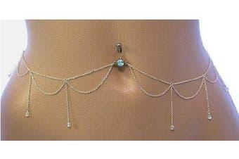 Body Accentz. Belly Button Ring Navel Body Jewellery Dangle Waist Chain 14 Gauge
