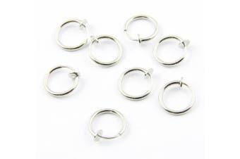 BOYDA 316L Surgical Stainless Steel Fake Piercings Nose Rings 13mm (1/2 inch) 8 Clip On Ear Lip Earrings Body Jewelry
