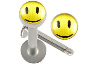16g gauge 5/16 Inch Surgical Steel Lip Bar Labret Ring Monroe Ear Tragus Stud Bars Ball 4mm Smile Logo Piercing 2Pcs AHFZ
