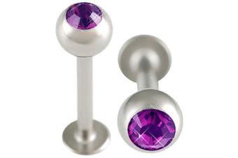 16g gauge 3/8 10mm Surgical Steel Lip Bar Labret Ring Monroe Ear Tragus Stud Bars 4mm Crystal Amethyst Piercing 2Pcs ALOZ