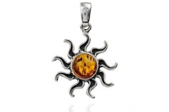 Sterling Silver Amber Sun Pendant