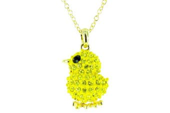 Yellow on Gold Plated Little Chick Bling Necklace