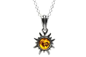 Honey Amber Sterling Silver Sun Very Small Pendant Necklace Chain 18