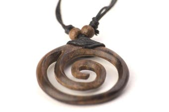 Brown wood wooden coco spiral tribal pendant necklace by 81stgeneration
