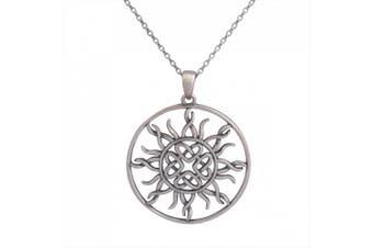 (oxidized-silver) - Sterling Silver Celtic Love Knot Sun Pendant Necklace, 46cm