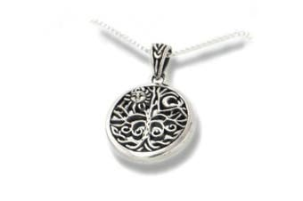 Celtic Tree of Life Art Symbol with Sun and Moon Sterling Silver Pendant with 45.7cm Necklace