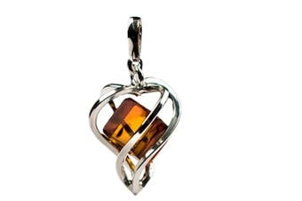Millennium Collection Certified Genuine Honey Amber and Sterling Silver Heart Pendant
