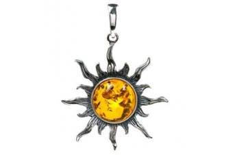 Ian and Valeri Co. Honey Amber Sterling Silver Sun Medium Pendant