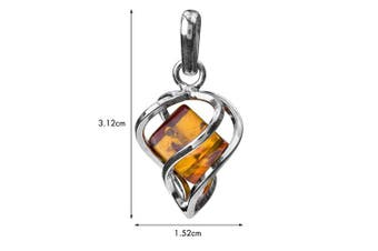 Honey Amber Sterling Silver Heart Millennium Collection Pendant