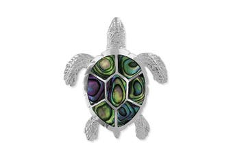 Sterling Silver Abalone Shell Turtle Pendant 2.5cm Wide
