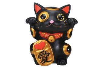 Black Maneki Neko Money Lucky Cat Chinese Japanese Statue