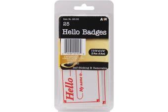 "(Hello Badges 2.3125""X3.3125"" 25/Pkg) - A & W Office Supplies AW251-53 2. 0.9m x 0m x 3. 0.9m x 0m Labels Hello Badges"