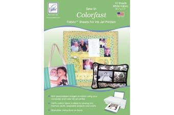 June Tailor Colorfast Sew-In Inkjet Fabric Sheets, White, 10/Pkg