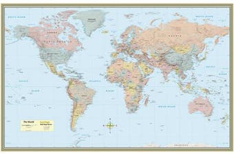 (1) - WORLD MAP LAMINATED POSTER 50 x 32