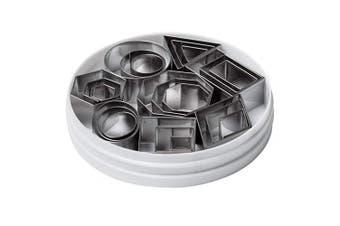 (Plain Edge, Geometric Shapes) - Ateco 4845 Plain Edge Geometric Shapes Cutters in Graduated Sizes, Stainless Steel, 24 Pc Set