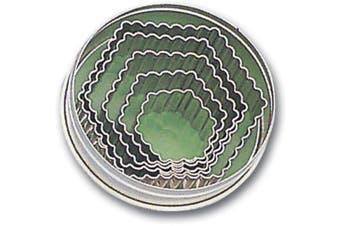 (5-Piece) - Paderno World Cuisine Fluted Hexagon Dough Cutters, 5-Piece Set