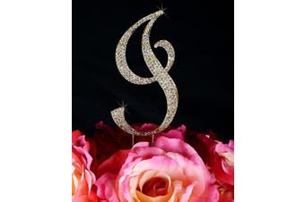 Crystal Monogram Cake Topper in Gold Completely Covered with Rhinestones (Front Only) - Large Letter I