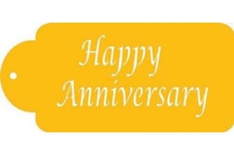 Designer Stencils Happy Anniversary Business Card Cookie Stencil