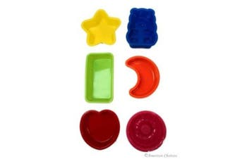 Set of 6 Assorted Silicone Kids Baking Moulds / Trays