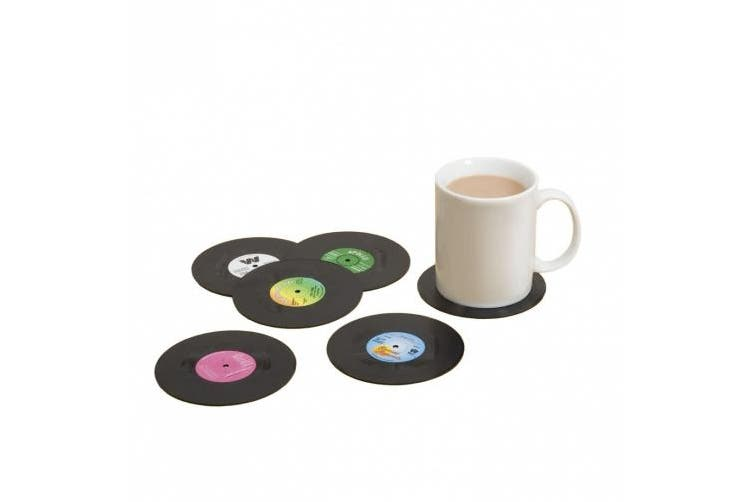 (Black) - Gift Republic Spinning Hat Retro Vinyl Coasters