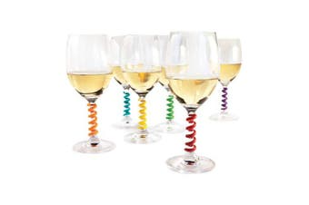(Set of 8, Springs) - Stem Spring: Set of 6 Multicoloured coil shaped Silicone Wine Glass Marker Charms by TrueZoo