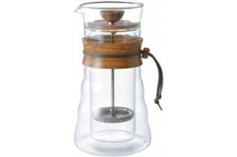 (Olive Wood, 400ml) - Hario CD-Cafe Press Double Glass-600ml Cafetière Wood-600ml, Glass, Olive Wood