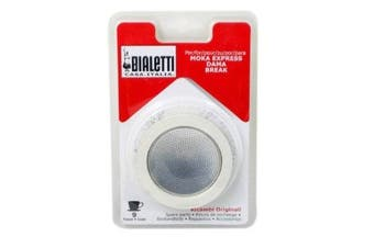 (1, White) - Bialetti Replacement Gaskets and filter Set, 9 Cup