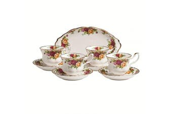 (OLD COUNTRY ROSES 9-PIECE TEA SET COMPLETER) - Royal Albert Old Country Roses 9-Piece Tea Cup & Tray Set