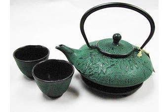 Happy Sales HSCT-MBG07, Cast Iron Tea Pot Tea Set Mochi Bamboo Green