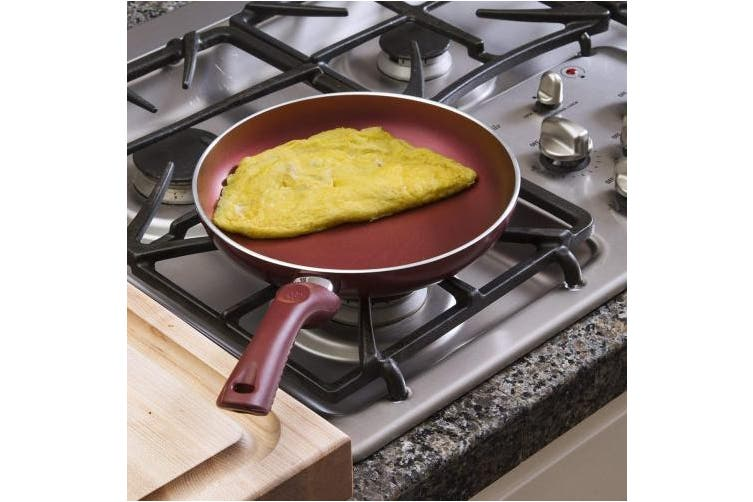 (24cm ) - Ecolution Evolve Non-Stick Fry Pan - Pure Heavy-Gauge Aluminium with a Soft Silicone Handle - Crimson Red - 24cm Diameter
