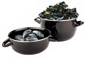 (0.5kg) - Paderno World Cuisine 0.5kg Capacity Enamel Steel Mussel Pot