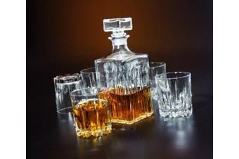 Italian Made Circleware Excalibur 5pc Whiskey Decanter Set