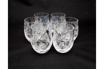 "SET of 6 Russian CUT Crystal Shot Glasses ""Barrel"" 50ml Hand Made"