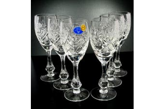 SET of 6 Russian CUT Crystal Shot/sherry Glasses on a Long Stem 70ml/2.4oz Hand Made