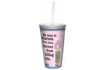 Tree-Free Greetings cc33868 Hilarious Aunty Acid Double-Walled Cool Cup with Reusable Straw, Nice to Nurses, 470ml