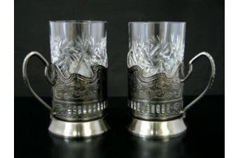 """Combination of 2 Russian CUT Crystal Drinking Tea Glasses W/metal Glass Holders """"Podstakannik"""" for Hot or Cold Liquids"""