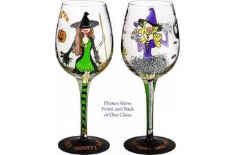 Bottom's Up 440ml Hallowine Handpainted Wine Glass