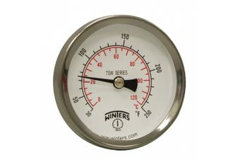 Winters TSW Series Aluminium Dual Scale Hot Water Thermometer, Dial Type, 2-1.3cm Dial, 1.3cm NPT Centre Back Mount, 30-250 F/C Range