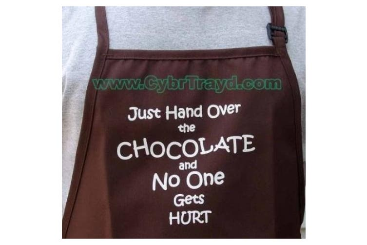 """CK Products Brown Expression Cooking Apron """"JUnited Statest Hand Over the CHOCOLATE and No One Gets Hurt"""