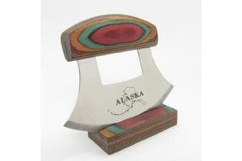 Multi-Coloured Exotic Wood Handled Ulu with Stand