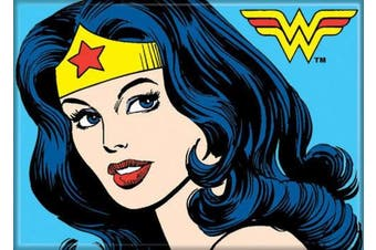 (Portrait on Blue) - Ata-Boy DC Comics Classic Wonder Woman Close Up 6.4cm x 8.9cm Magnet for Refrigerators and Lockers