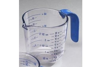 (590ml Capacity) - Arrow Home Products 00031 2-1/2 Cup Cool Grip Measure Cup, 590ml Capacity, Crystal with Blue Handle and Graduates