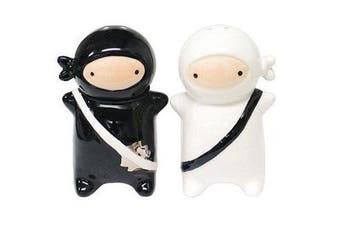 (Black) - 180 Degrees Pj0345 Japanese Ninja Kids Salt & Pepper Shaker Set, Black and White