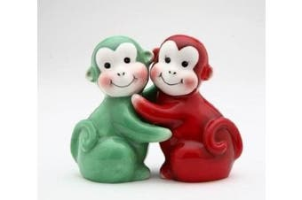 5.4cm Red and Green Happy Hugging Monkeys Salt and Pepper Shakers