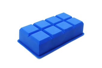 (Single) - Freshware FI-112BL 8-Cavity Flexible Silicone Large Ice Cube Tray, 5.1cm Cubes for Slow Melt and Less Drink Dilution (Single)