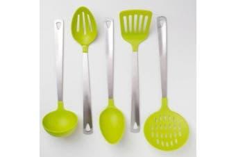 Cook's Corner 5-Piece Kitchen Utensil Set - Stainless Steel & Lime Green