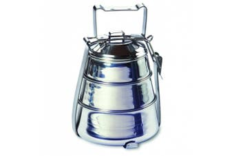 (3 TIER) - Rome 2664 Stainless Steel 3-Tier Belly Tiffin Food Carrier, 14cm by 21.6cm