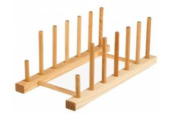 J.K. Adams 33cm -by-15.2cm Maple Wood Flat Plate Drying Rack, 6-Plate Capacity