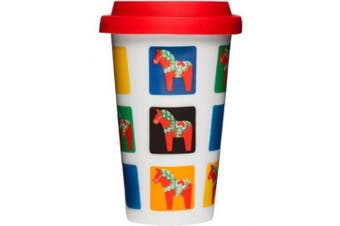 Sagaform Take Away Mug with Dala Horse Pattern, 8-1/60ml